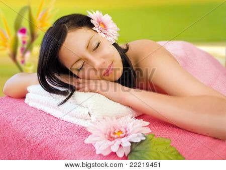 young woman enjoying bodycare
