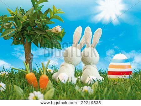 two easter-bunny with coloured eggs sitting in a meadow beside a tree looking into the blue sky