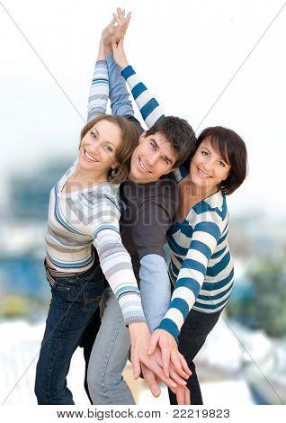tres amigos que se divierten