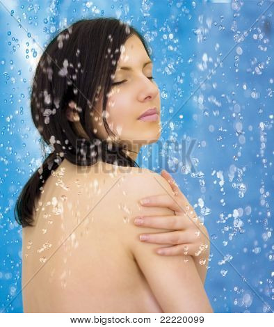 girl taking a shower