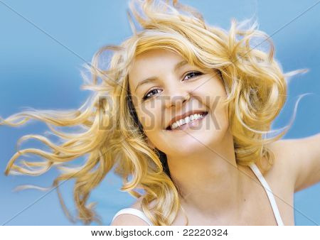 blond woman with with wind in her hair