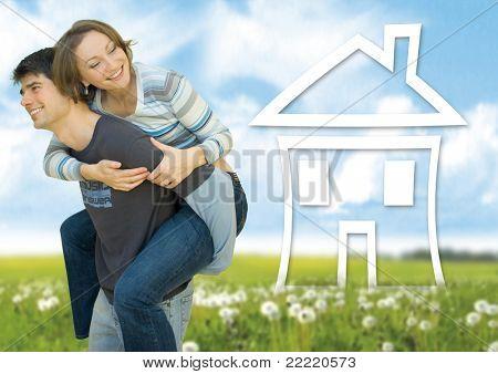 couple having fun in a meadow