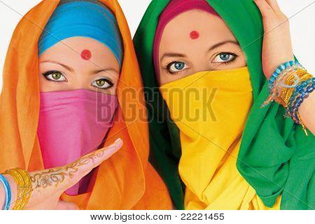 portrait of two indian women.