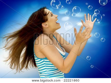 "young girl with soap-bubbles. Keyword is ""bubbles77"""