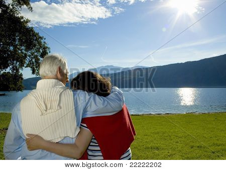 "attractive married mature couple enjoying the sunset. keyword for this collection is ""seniors77"""