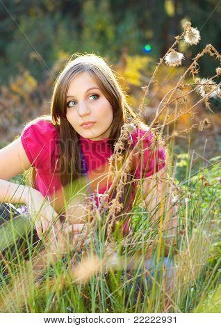 beautiful girl in a autumn-meadow