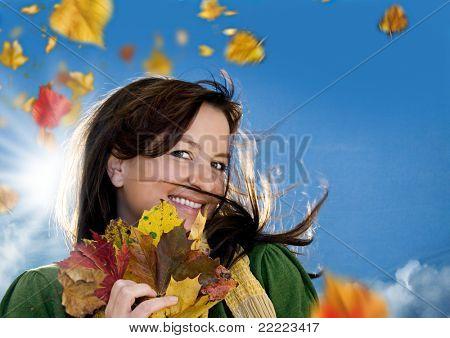 happy girl on a sunny autumn day