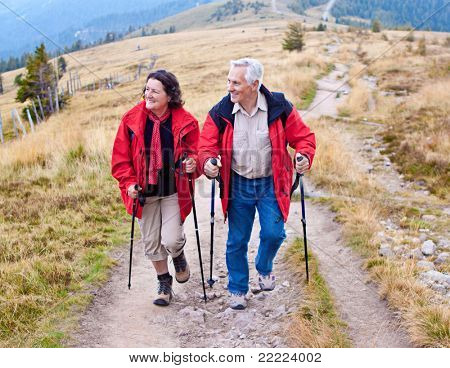 senior-couple hiking in the nature