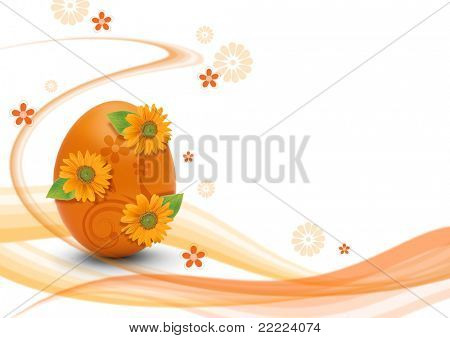 orange easteregg with white background ans swirls for making a postcard