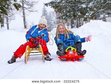 sisters are sledging in winter