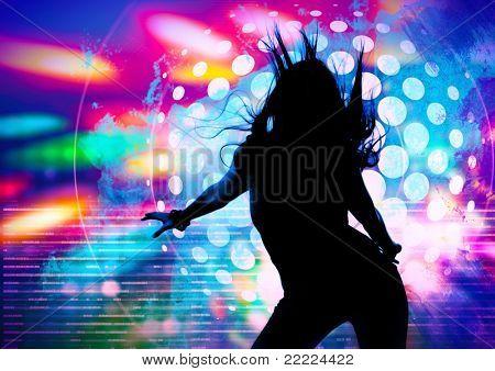 dancing silhouette of girl in a nightclub