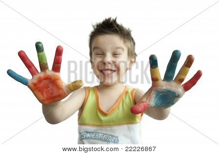 Children Colored Hands.arms Stretched Forward.