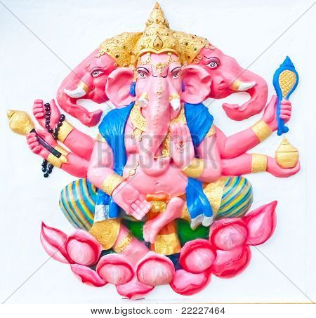 Pink Ganesha Sitting On Lotus