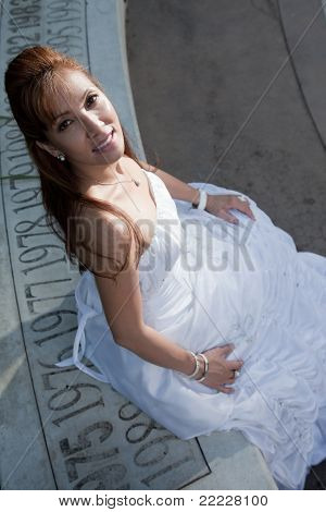 Attractive Asian Filipino Bride In Gown
