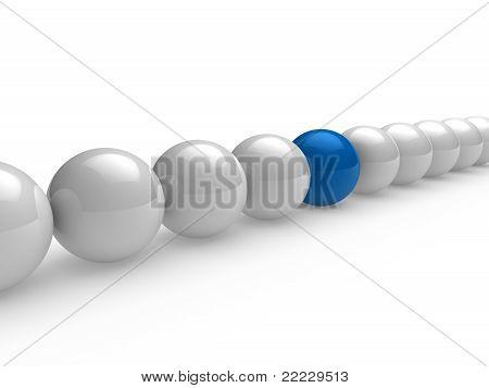 3D Ball Blue White Line