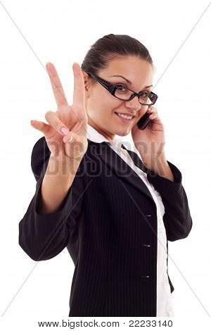 Business Woman With Phone And Victory Gesture
