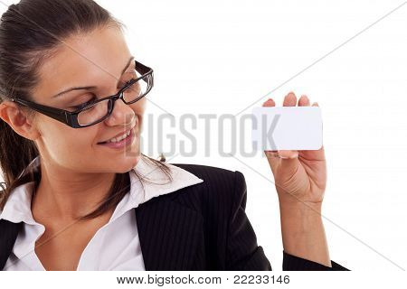 Business Woman Presenting Her Business Card