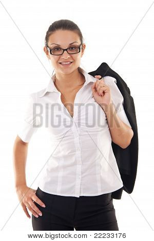 Business Woman Standing With Coat Over Shoulder