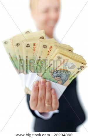 Woman Holding Stacks Of Romanian Currency