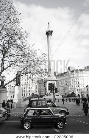 Old Mini In Trafalgar Square