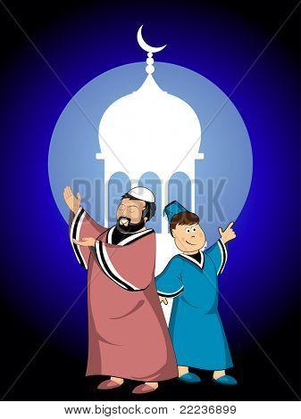 Moschee Hintergrund mit glücklichen Menschen, der angibt, Mond