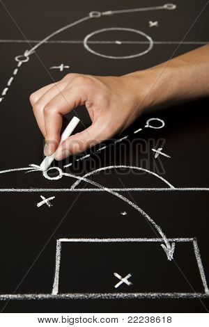 Hand Drawing A Soccer Game Strategy
