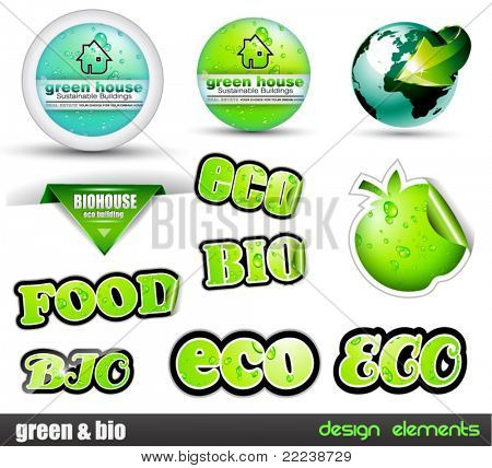 Eco & Green Bio set of stickers with different type of ecology design elements included a real estate circular panel.
