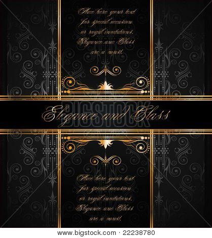 Elegant seamless wallpaper with golden fine decoration and place for your text. Ideal to use for classic invitation flayer or card.