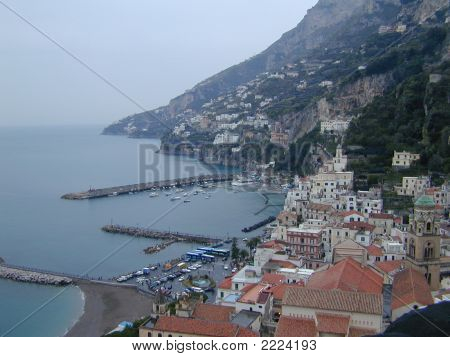 Vista aérea de la costa de Amalfi