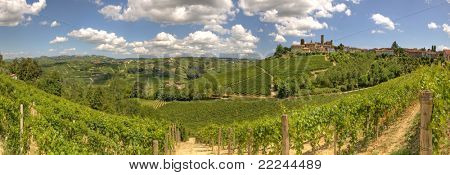 Panoramic view on vineyards and small town on the hill under beautiful sky in Piedmont, northern Italy.