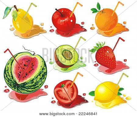 Vector Food Icons. Abstract web symbols. Juicy fruit concept.
