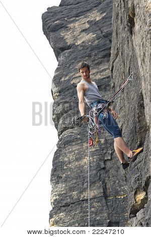 Rock Climbing Fit Man On Rope Sunny