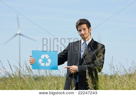 Green Energy Young Businessman Hold Recycling Sign