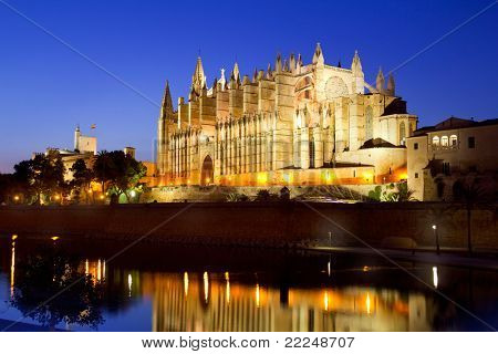 Cathedral of la Seu Majorca in Palma de Mallorca reflection over lake at Balearic islands