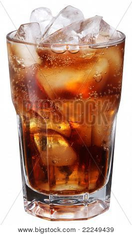 Cola glass. Isolated on white background. File contains a path to cut.