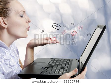 Young Woman With Computer. Blogger