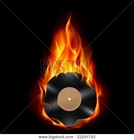 Vinyl record burning symbol