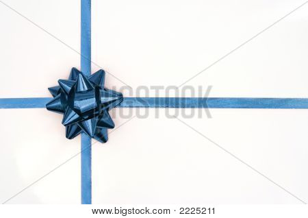 Christmas Present With Blue Ribbon