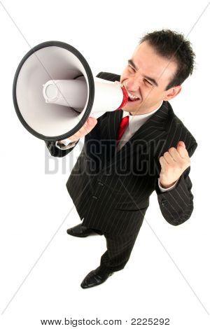 Businessman Shouting Through Megaphone