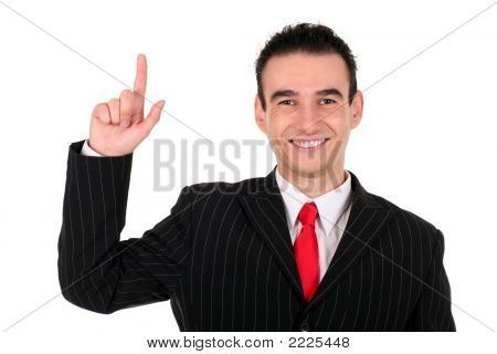 Businessman With Finger Pointing Up