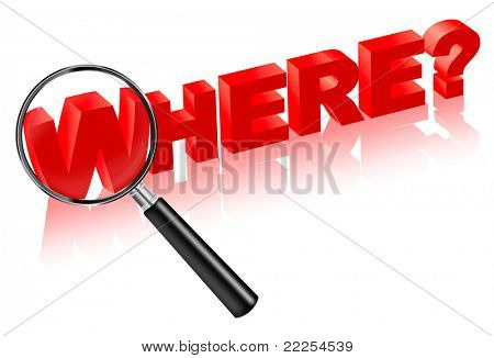 where location address place search button 3D . Search answer on question. Red text with magnifying glass.