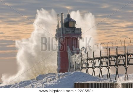 Winter South Haven Lighthouse