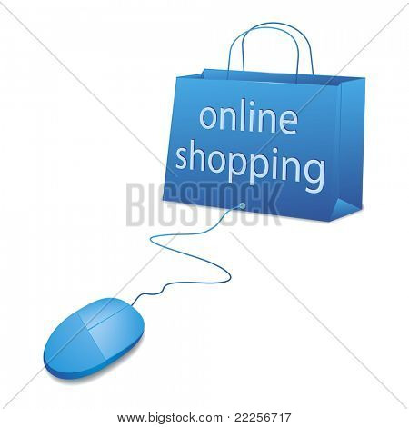 An image of online shopping in blue