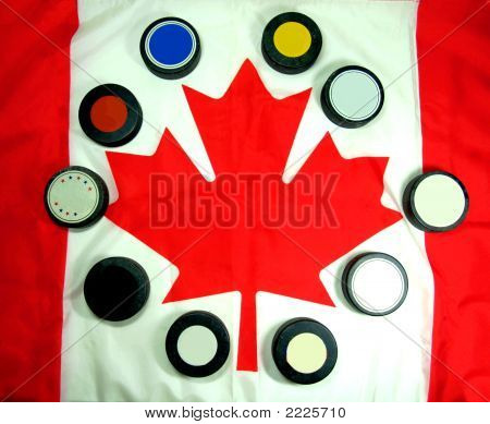 Canadian Flag With Hockey Pucks