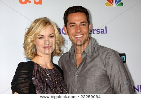 LOS ANGELES - AUG 1:  Yvonne Strahovski, Zach Levi arriving at the NBC TCA Summer 2011 Party at SLS Hotel on August 1, 2011 in Los Angeles, CA