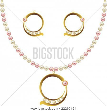 Pearl Gold Jewellery Necklace, Earrings, pendent