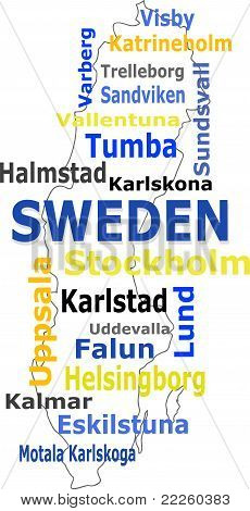 sweden map and words cloud with larger cities