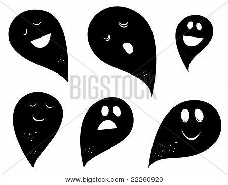 Black Ghost Silhouettes Isolated On White Background.