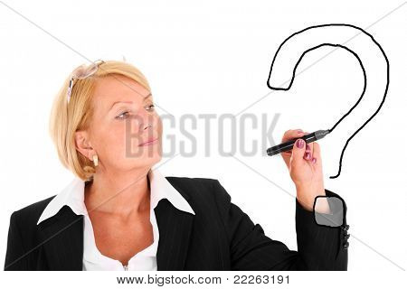 Mature businesswoman drawing a big question mark over white background