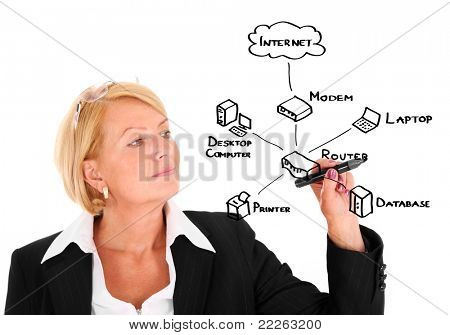 A picture of a young businesswoman drawing a diagram connected with internet and computer